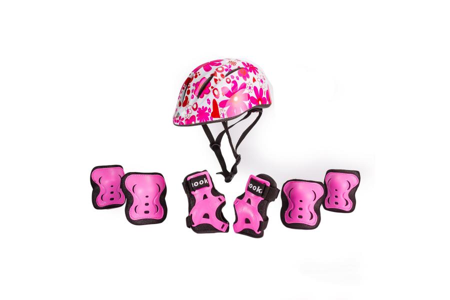 Set de casco y protecciones Rosado